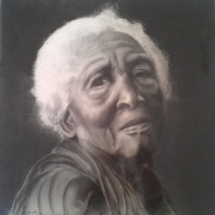 Anciana_tile decoration by airbrush_40cmX40cm