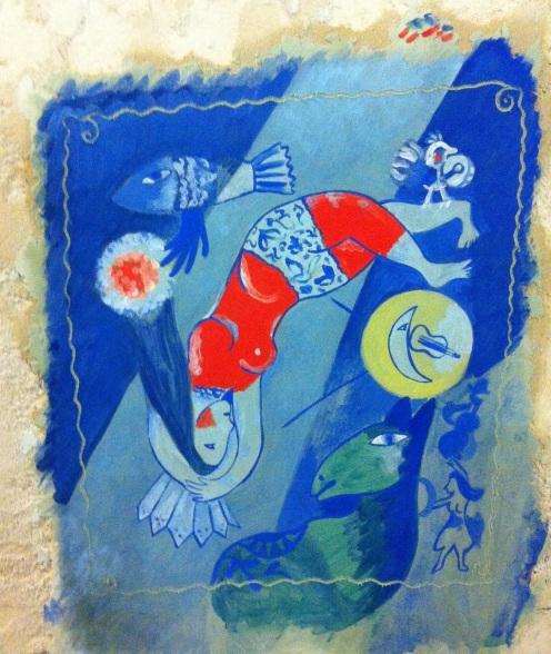 La trapéziste_copy (original by Chagall)_mural fresco/Paris