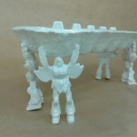 Huevera Mazinger Z-glazed white clay_30cmX11.5cmX12cm