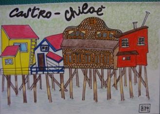 Saludos desde...Chiloé_hand drawn postcard