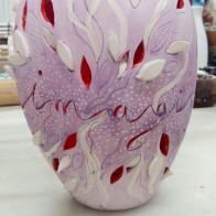 """""""Imaginer c'est hausser le réel d'un ton""""_glazed and watercolor _painted, carved ceramic_16cmX22cm"""
